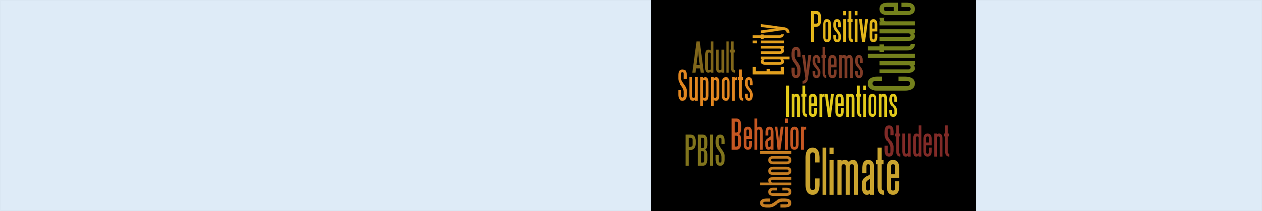 Wordle of descriptors associated with PBIS, for example, the word climate.