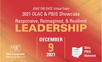 This image is the a logo box with a red background with the dates for the PBIS/OLAC virtual conference on December 9, 2021